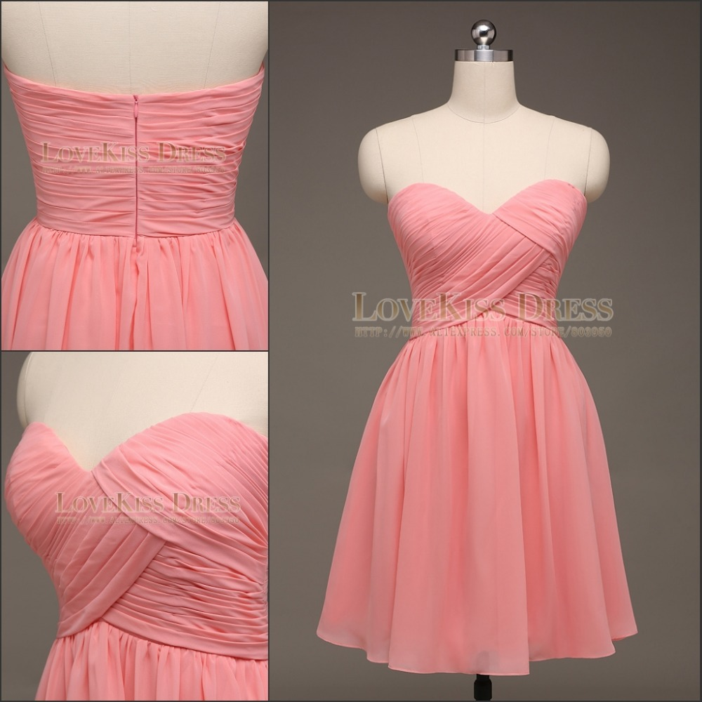 100% Real Made Custom Made Sweetheart Coral Chiffon A Line Short ...