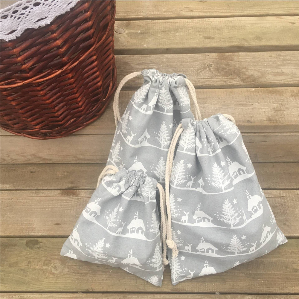 YILE 1pc Cotton Canvas Drawstring Party Gift Bag White Christmas Tree Deer House Grey 8927d