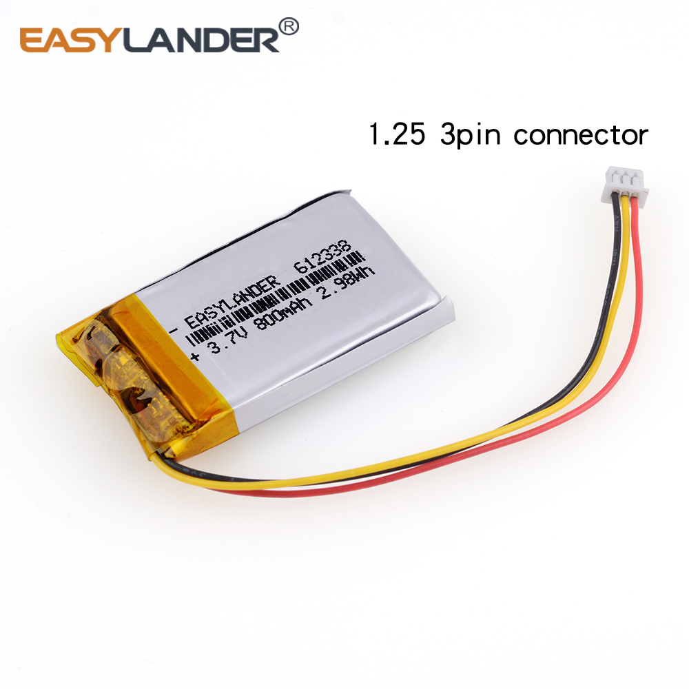 612338 3.7V 800mAh Rechargeable li-Polymer Li-ion Battery For smart home MP3 mp4 speakers DVR VR GPS cell phone Driving recorder