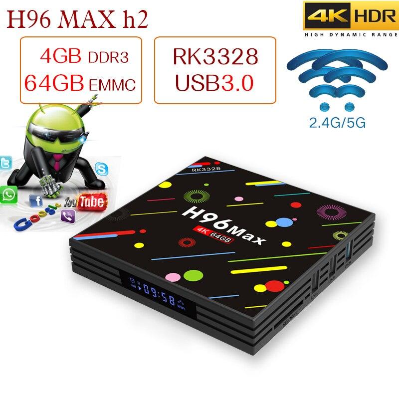 Xinways H96 TV BOÎTE 4 gb TV BOX H96Max RK3328 Android TV BOX 4 gb RAM 64 gb RAM USB3.0 2.4g/5g WIFI version Neige