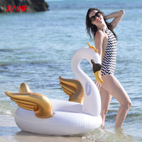 JIAINF Exquisite white swan pool float Environmentally friendly PVC golden wings swan circle for swimming water inflatable toys