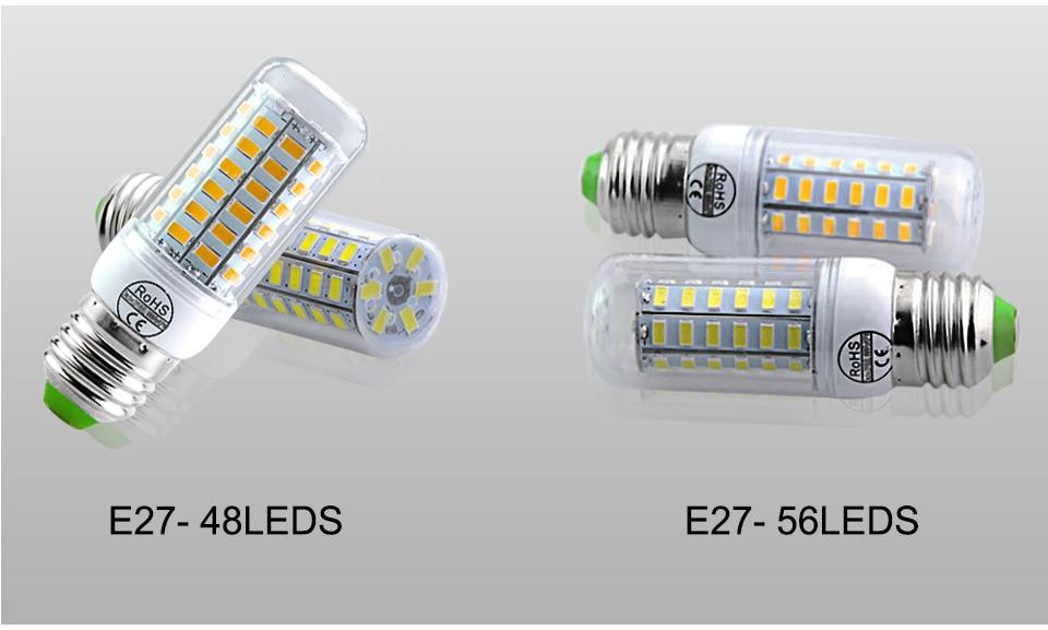 E27 LED Bulb E14 LED Lamp 220V 24 36 48 56 69 72LEDs Bombillas Ampoule LED E27 E14 Corn Light Bulbs For Home Chandelier Lighting (15)