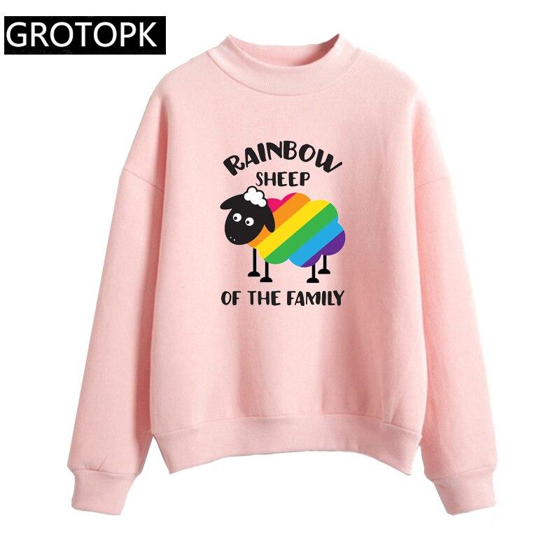 2019 Pride Lgbt Gay Rainbow Women's Sweatshirt Hoodie Harajuku Casual Long Sleeve Pink&white Hoody Ladies Clothes For Women Kpop