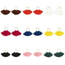 Zinc Alloy Trendy Romantic Elegant Multi Color Tassel Hanging Drop Dangle Earrings for Women