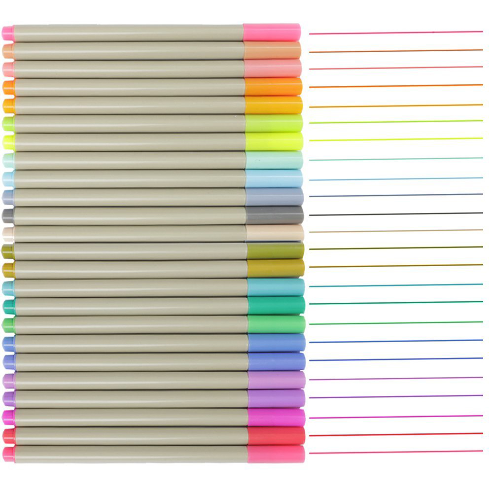 MEEDEN 24/48 Assorted Colors Water Fine Line Pens Sets Markers Drawing for Student Artist and Adult Coloring Books Supplies touchnew 60 colors artist dual head sketch markers for manga marker school drawing marker pen design supplies 5type