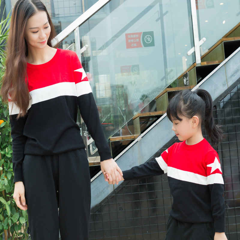 Autumn Winter Mother Daughter Sweaters Family Matching Knitted Clothes Outfits Mom Daughter Stripe Sweaters Family Look Tops christmas sweaters for children toddler knited girls sweaters for fall winter thick tops warm mother and daughter clothes beige
