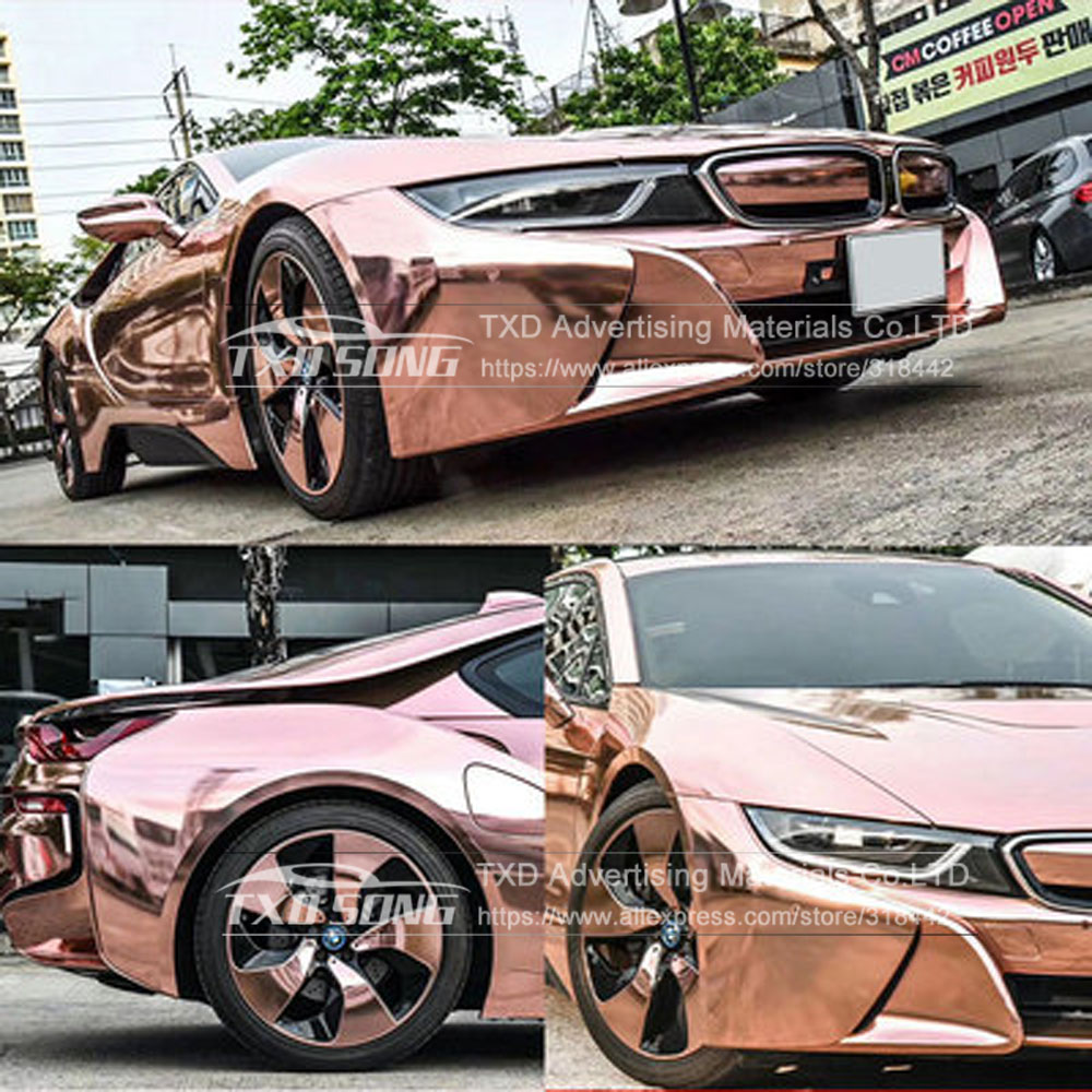 Image 4 - The newest High stretchable mirror rose gold Chrome Mirror flexible Vinyl Wrap Sheet Roll Film Car Sticker Decal Sheet-in Car Stickers from Automobiles & Motorcycles