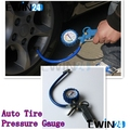 Car Van Truck Tyre Tire Air Line Dial Pressure Meter Inflator Gauge Compressor free shipping 1set