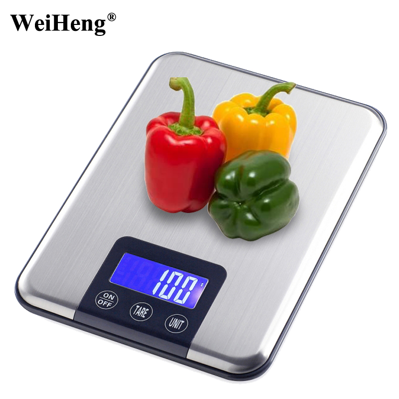 Slim Stainless Steel 33LB 15KG/1G Portable Balance Digital Kitchen Scale Electronic Postal Platform Baking Diet Food Weight LCD 800g electronic balance measuring scale with different units counting balance and weight balance
