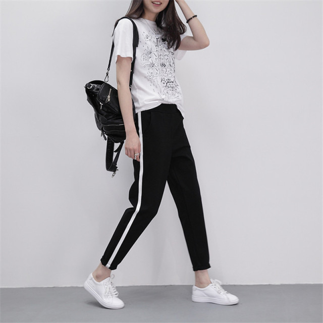 2019 Spring Sweatpants Women Casual Harem Pants Loose Trousers For Women Black Striped Side Sweat Pants Female Plus Size M-XXL