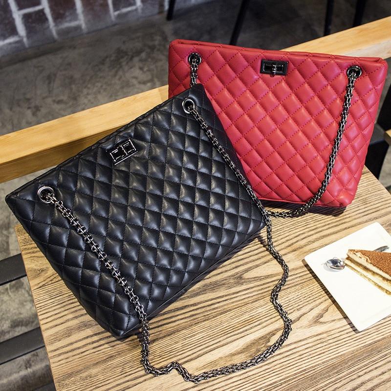 ФОТО Luxury Leather Chains Shoulder Bags Handbags Women Famous Brand Female Black Leather Handbag sac a main femme de marque pochette