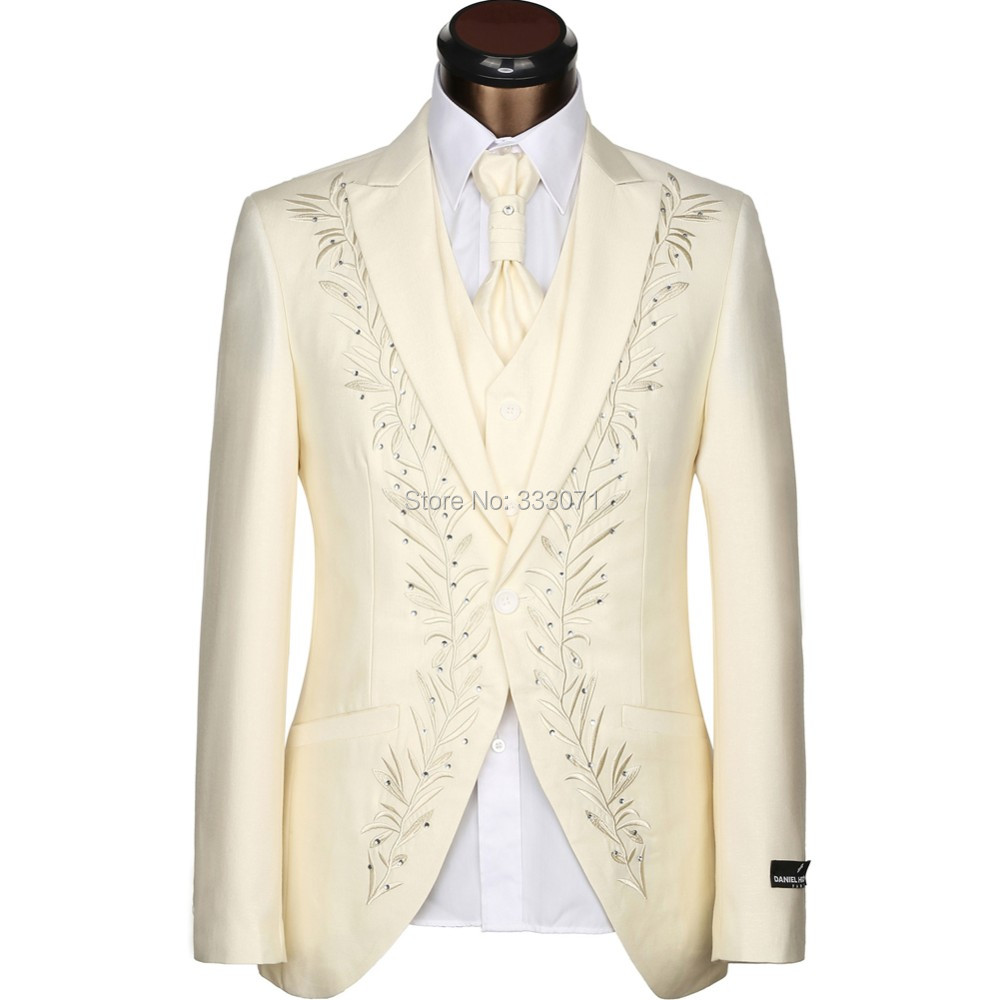 Latest Coat Pants Designs Tailored Rhinestones Man Suit White Black Cream Embroidery Wedding Suits For Men Groom Tuxedos 3 Piece In From S