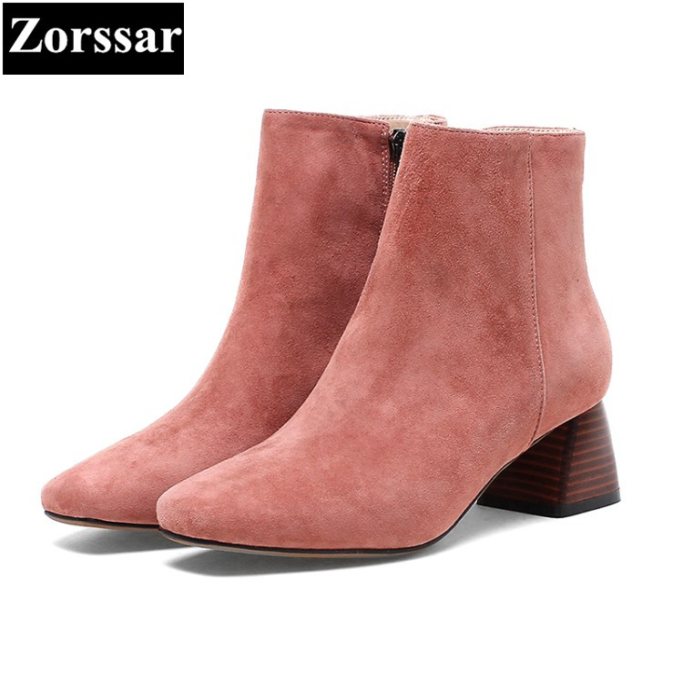 {Zorssar} 2017 NEW fashion High heels Women Chelsea Boots Square Toe thick heel suede ankle boots autumn winter female shoes enmayla autumn winter chelsea ankle boots for women faux suede square toe high heels shoes woman chunky heels boots khaki black