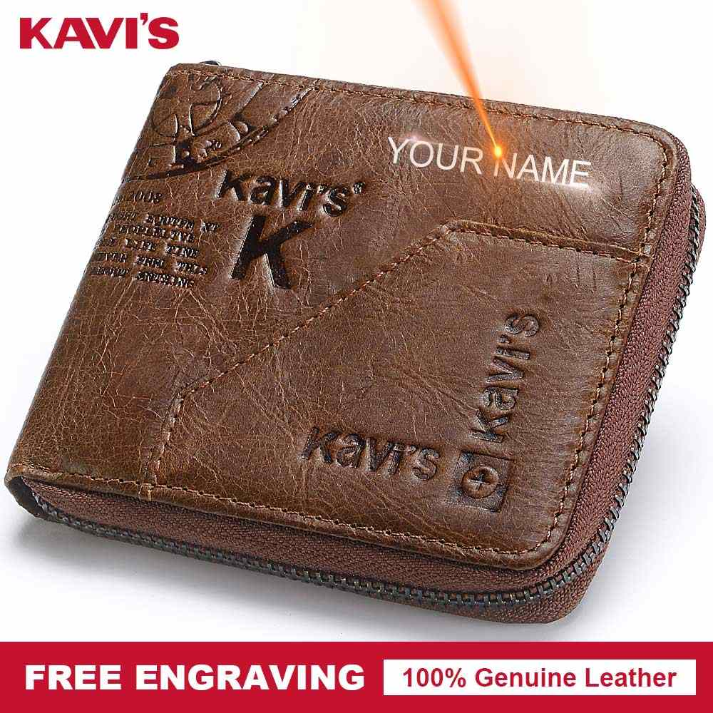 KAVIS Free Engraving Genuine Leather Wallet Men Coin Purse Male Cuzdan Small Walet Portomonee Mini PORTFOLIO Perse Zipper Name