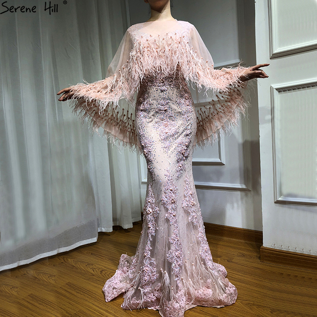 Różowe bez rękawów pióra szal przędzy suknie wieczorowe 2020 syrenka kryształowe perły moda Sexy suknie wieczorowe Serene Hill LA6608