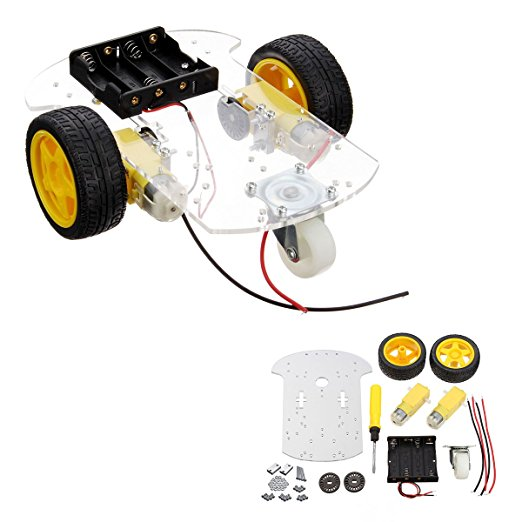Transparent Motor Smart Robot Car Chassis Kit Speed Encoder Battery Box For DIY 2