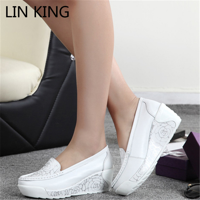 LIN KING Wedge Platform Trainers Shoes Breathable Summer Women Casual Shoes Height Increasing Swing Lose Weight Nurse Shoes