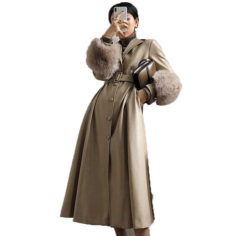 Réel Véritable Veste En Cuir en peau de Mouton Manteau Femme Manteau De Fourrure de Veste Automne Hiver Élégant Coupe-Vent Femmes Coréennes ZT1653