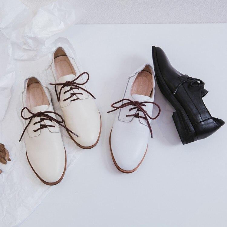 MLJUESE 2018 mujeres pisos de cuero de vaca estilo británico suave oxfords zapatos primavera cómodo casual pisos vestido de fiesta tamaño 34  40-in Zapatos planos de mujer from zapatos    1