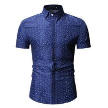 New model Shirts Camisa Social Short sleeve Evening dress Men Summer Blouse Mens clothing Blue Black White