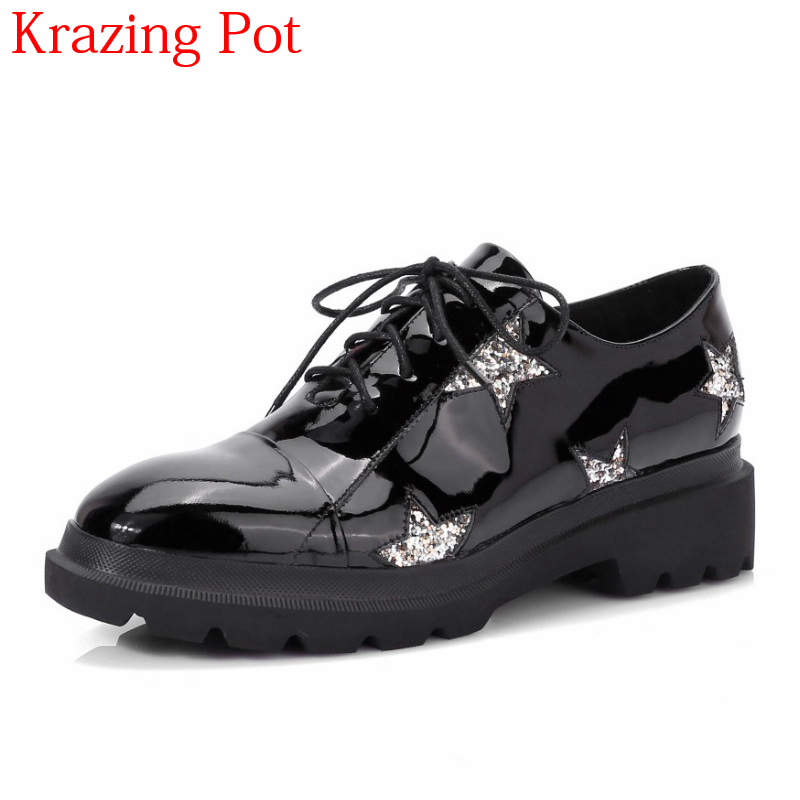 2018 Superstar Genuine Leather Crystal Brand Shoes Med Heels Lace Up Five-star Bling Round Toe Autumn Winter Women Pumps L20 2017 shoes woman genuine leather flower round toe lace up preppy style med heels pumps for women young lady casual shoes l02
