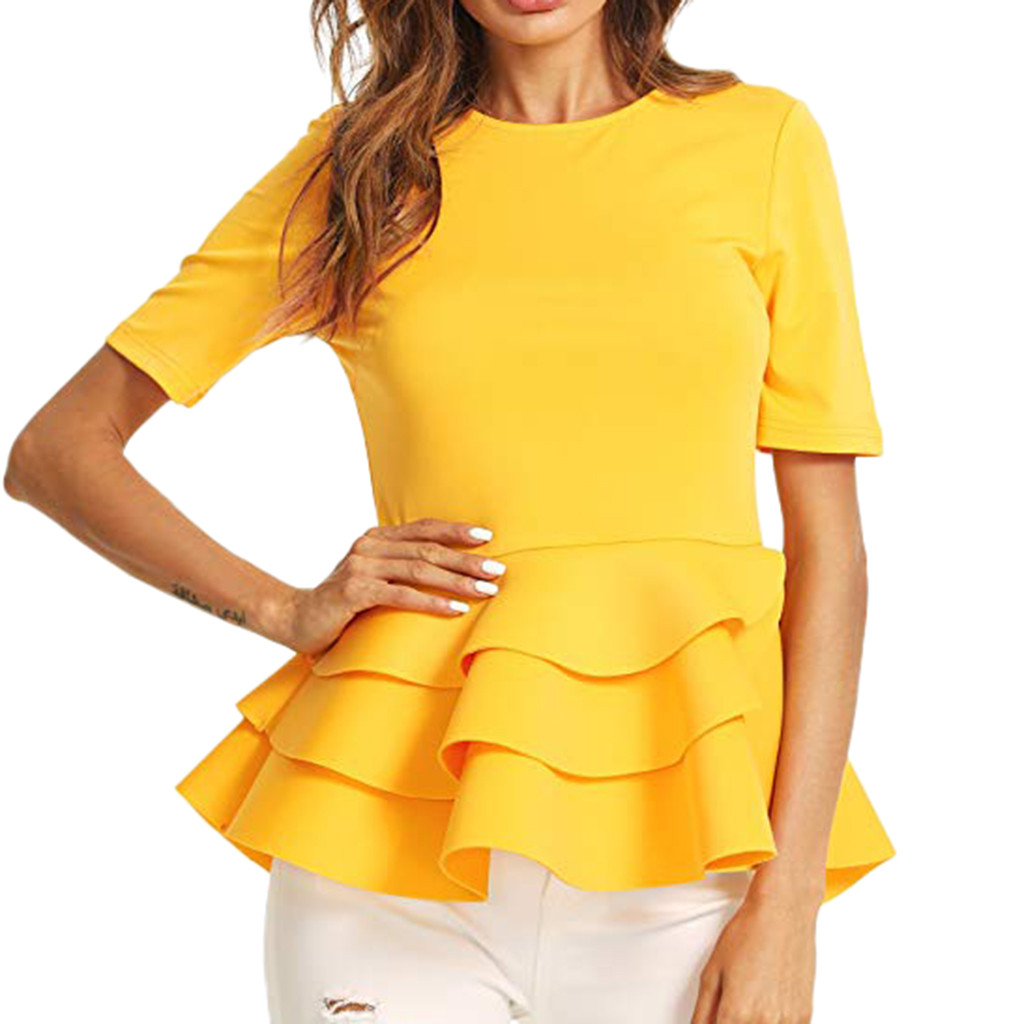 Women Short Sleeve Vintage Layered Ruffle Hem Fit Solid Peplum Blouse Shirt Top