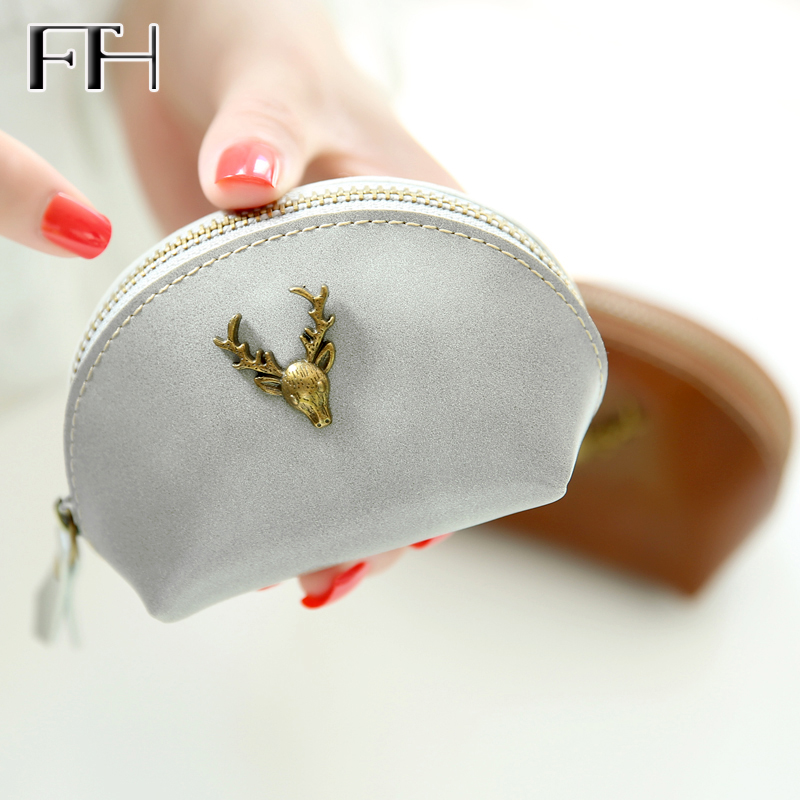 Lovely Vintage metal deer womens Leather mini zipper Wallet Lady Cash Purse Change Purses for girls Carteras female Coin Purses