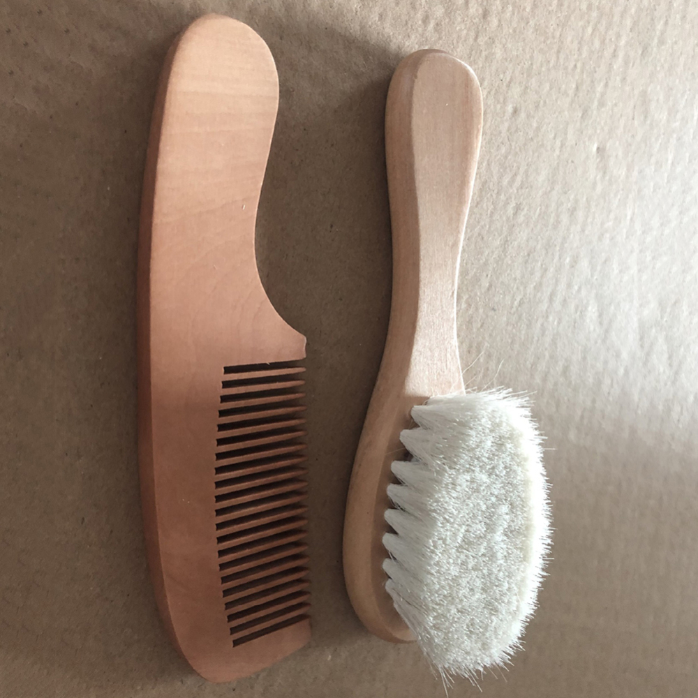 Natural Wool Baby Wooden Brush Comb Newborn Hair Brush Infant Head Massager  Baby Comb Dropshipping