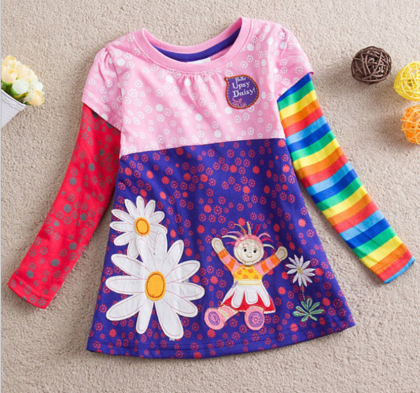 FREE SHIPPING NWT girl long sleeve A line t shirt with printed daisy and applique & embroidery, MOQ: 5pcs