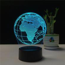 Творческий Глобус 3D Holograma Акриловые 7 цветов прикроватная Спальня лампа Luz De светодиодный светильник USB ночник Decoracao Casa Lampka