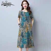 Femmes robe longue 2019 été nouvelle robe d'été femmes en vrac grande taille tenue décontractée vêtements de travail impression grande taille robe 3577 50