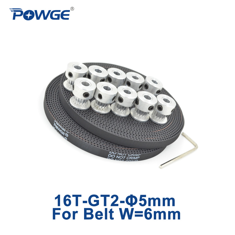 POWGE 10pcs 16 teeth GT2 Synchronous Pulley Bore 5mm + 10Meters GT2 Open Timing Belt width 6mm 2GT Small backlash (16Teeth) 16T powge 24 teeth 2gt timing pulley bore 5mm 6 35mm 8mm for width 15mm gt2 synchronous belt small backlash 2gt pulley 24teeth 24t