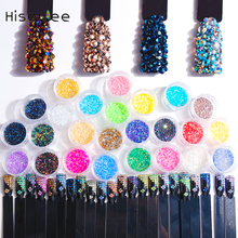 Hisenlee 1 Box 2mm 25 Kind Colors Jelly AB Resin Rhinestones For DIY Nail Art Jewelry Nails 3D Decoration Gift Rhinestones Gems