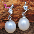 ZJPEARL  ANGEL TEARS Natural Pearl Earrings Cultured Freshwater Pearls with 925 Silver ,Earring 2016 new