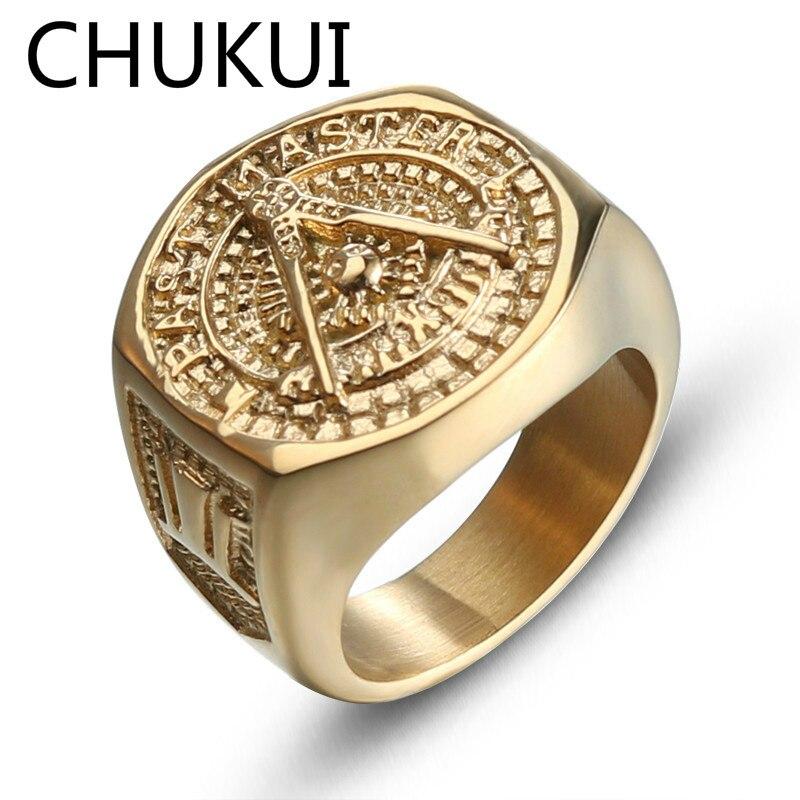 CHUKUI Gold Color Stainless Steel Metal Rings For Men Big Width Man Freemason Mason Ring Freemasonry Punk Cool Male Jewelry