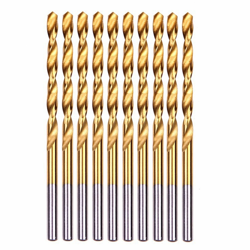 50pcs/set Electric Twist Drill Bit Set Titanium Coated HSS Saw Set 1/1.5/2/2.5/3mm Woodworking Metal Plastic Drill Bit Power Kit 15 pieces titanium coated hss twist drill bit set with 1 4 hex shank for metal power tool accessories 3 0 5 0mm