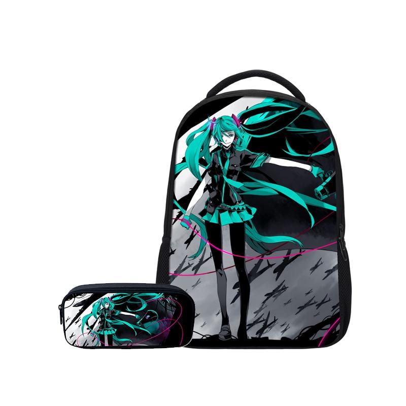 VEEVANV Anime Hatsune Miku Prints Fashion 2 PCS/SET Combination Girls Bookbag Pencil Case Teenage Shoulder Bags Women Mochila-in School Bags from Luggage & Bags    1