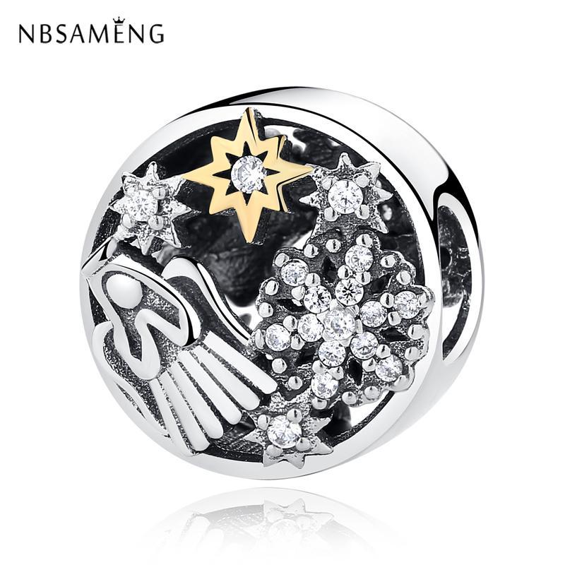 Authentic 925 Sterling Silver Beads Charm Celestial Wonders Clear CZ Charms Fit Original Pandora Bracelets Women DIY Jewelry