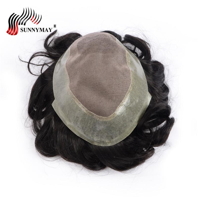 Brazilian hair Afro men toupee hair repalacement Human hair toupee fine mono with skin base free