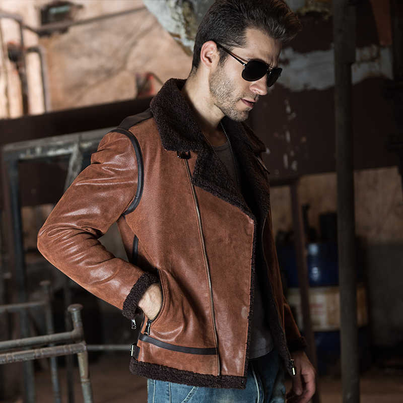 91323df5736 ... Men's Genuine Leather pigskin motorcycle real leather jackets with faux  fur shearling aviator bomber jacket winter ...