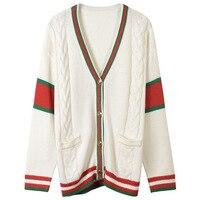 2018 New Winter Cardigan Women Fashion Twist Knit Sweater Runway Vintage Red Stripes V neck Preppy Style Jumper Jacket Clothing
