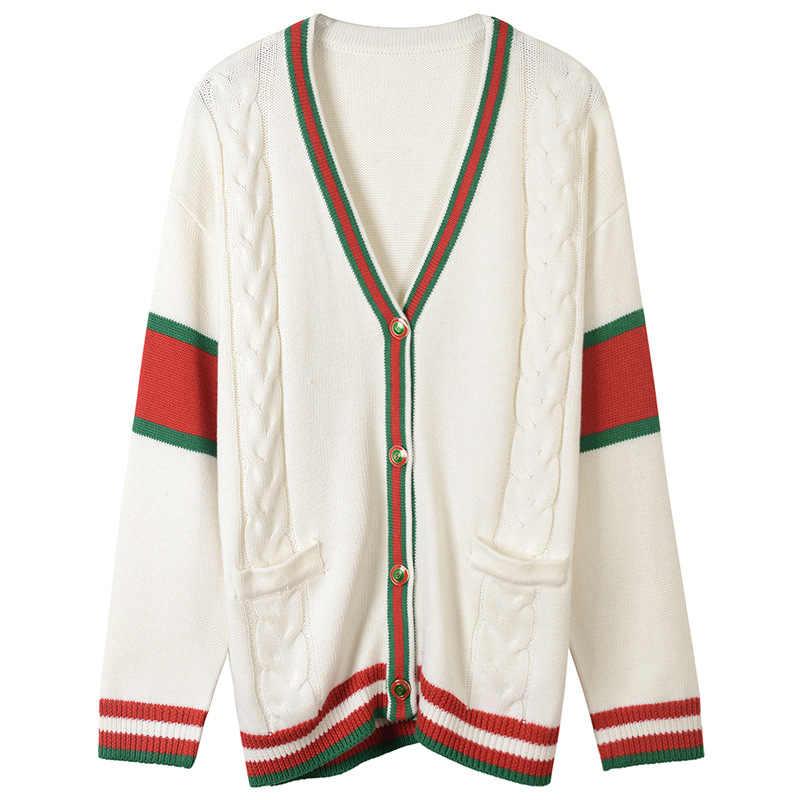 2018 новый зимний Кардиган женский модный твист вязаный свитер подиумная винтажная красная полоска v-образный вырез консервативный стиль куртка-джемпер одежда