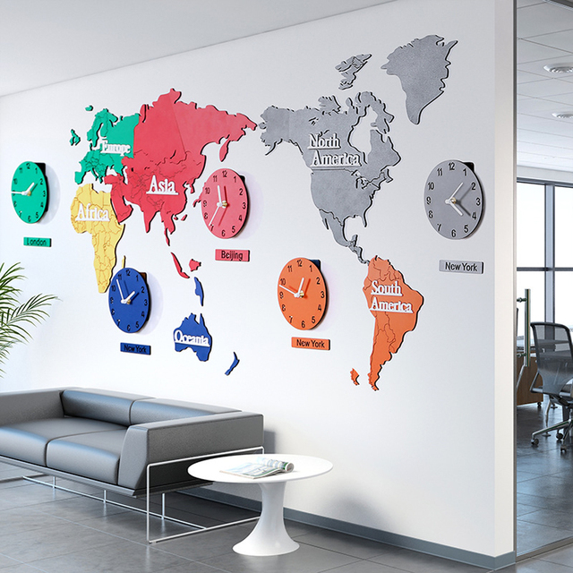 Large World Map Wall Clock Modern Design Living Room Decoration