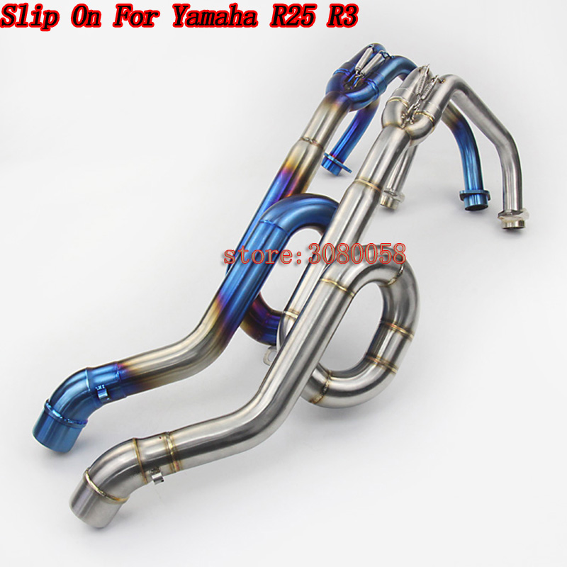 Motorcycle blue Exhaust System Pipe escape moto Front Middle Modified Link Pipe Slip On Tube For Yamaha YZF R25 R3 R30