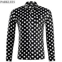 Polka Dot Black Long Sleeve Shirt Men 2019 Fashion Slim Fit Mens Dress Shirts Casual Button Down Social Shirt Male Camisas 2XL