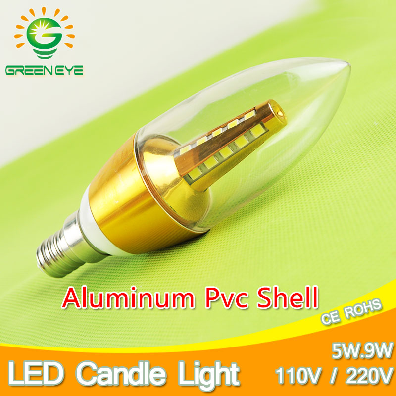 Candle LED Bulb E14 9w 5w Aluminum Shell LED Light Lamp 110V 220V E14 Golden Silver Cool Warm White Ampoule Lampara Led SMD 5730