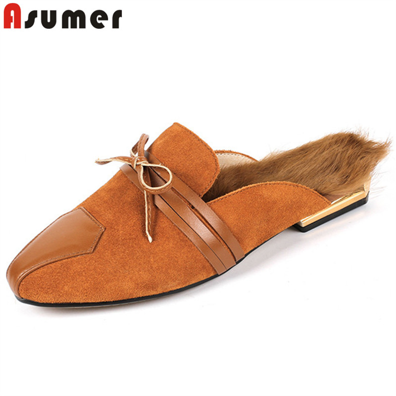 ASUMER 2018 fashion autumn winter shoes woman round toe mules shoes cow   leather  +cow   suede   shoes comfortable casual women flats