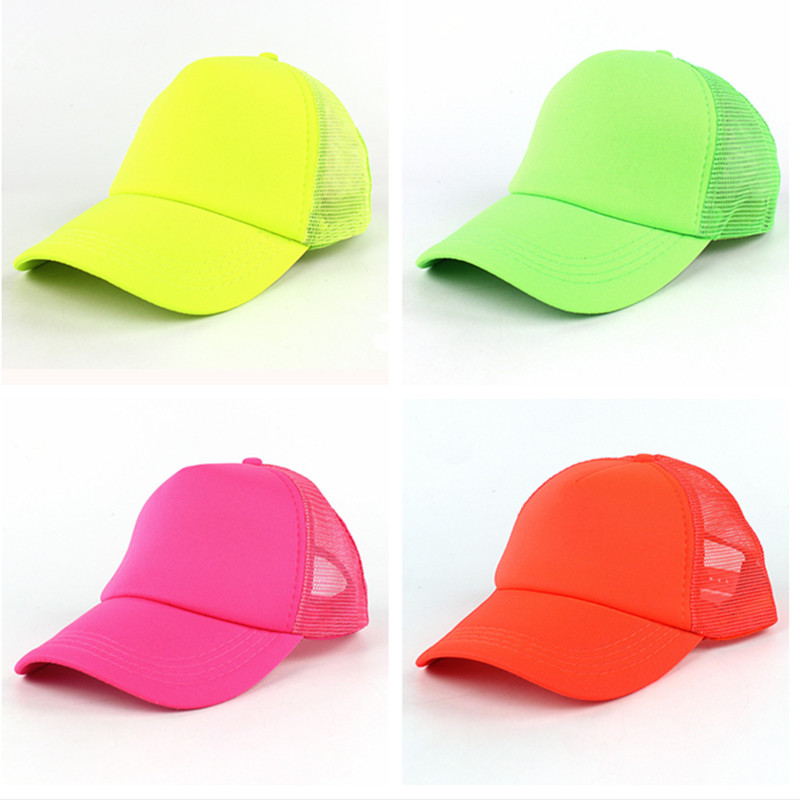 Fluorescent Hat Women Snap Cap Baseball Hat Sun Protection Sun Hat Women's Wedding Trucker Cap Neon Mesh Hat Adjustable