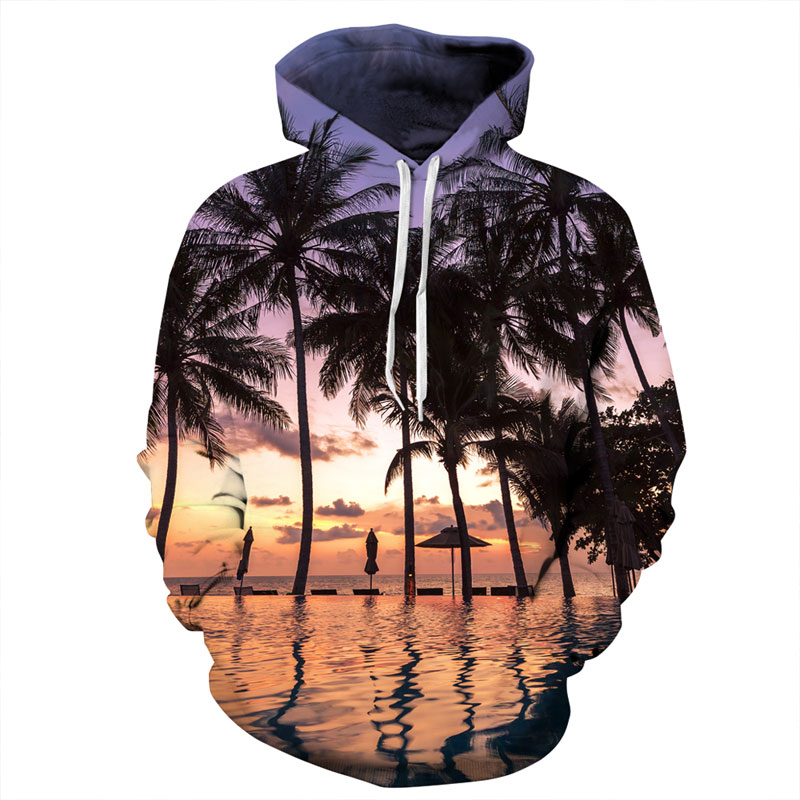 Mr.1991INC Hot Fashion Harajuku Sweatshirts Men/women 3d Hoody Print Nightfall Seaside Coconut Trees Hooded Hoodies