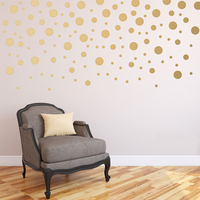 120pcs Package Gold Confetti Dots Wall Decals For Baby Nursery Mixed Sizes Peel And Stick Wall